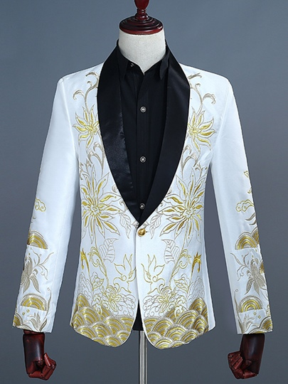 Gold Embroidery One Button Slim Men's Dress Suit
