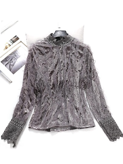 Korean Mesh Patchwork Flounce Women's Blouse