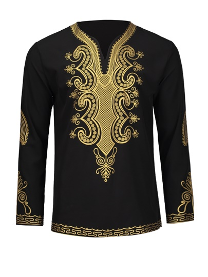 Dashiki V-Neck Golden African Ethnic Printed Slim Fit Men's Luxury Shirt