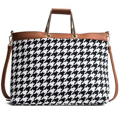 Classic Houndstooth Pattern Women Satchel