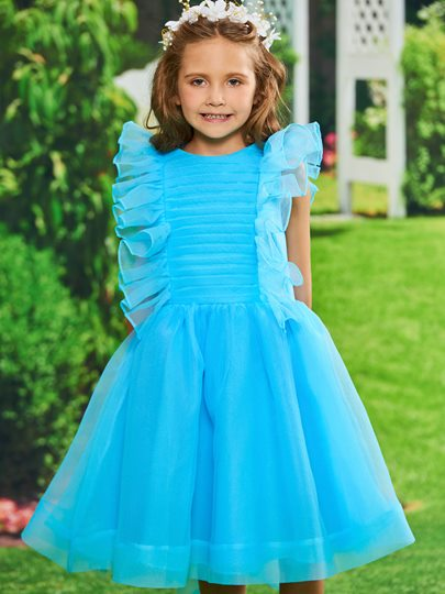 Organza Pleats Ruffles Girls Party Dress