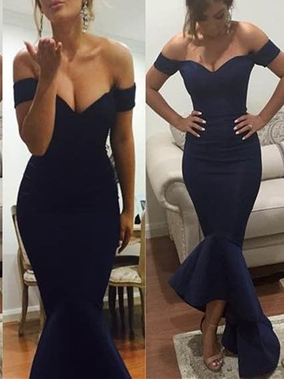 Off-the-Shoulder Trumpet Ruffles Evening Dress