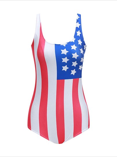 American Flag U-Neck One-Piece Swimsuit