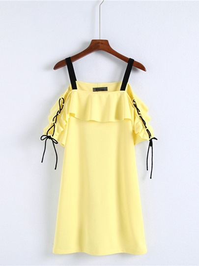 Yellow Lace up Strappy Women's Day Dress