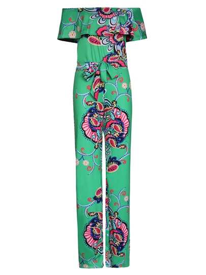 Color Block Floral Print Slash Neck Women's Jumpsuit