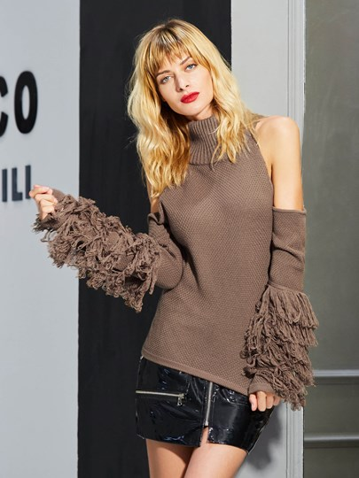 Irregular Heap Sleeve Tassel Women's Sweater