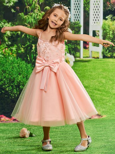 Spaghetti Straps Lace Flowers Girls Party Dress