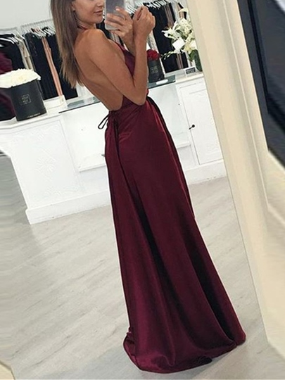 A-Line Split-Front Halter Floor-Length Evening Dress
