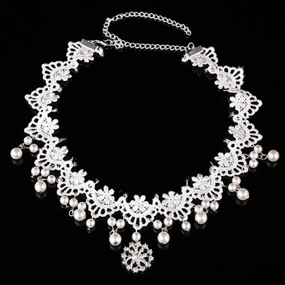 Snowflake Shaped Lace Imitation Pearl Hair Accessories