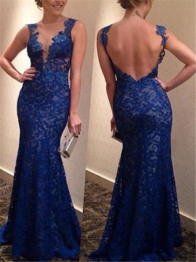 Straps Mermaid Lace Backless Floor-Length Evening Dress