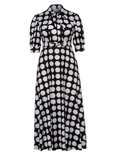 Tie Neck Polka Dots Half Sleeve Women's Maxi Dress