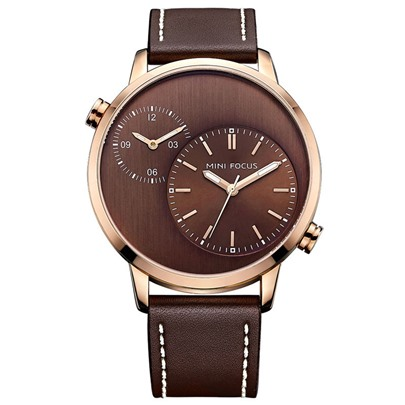 Artificial Leather Band Double Movement Design Men's Watch