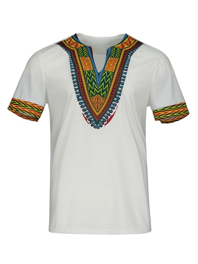 Dashiki Dress V-Neck African Print Slim Men's Short Sleeve Shirt