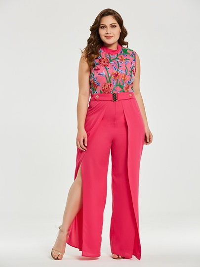 Plus Size Floral Wide Legs High Waist Women's Jumpsuit
