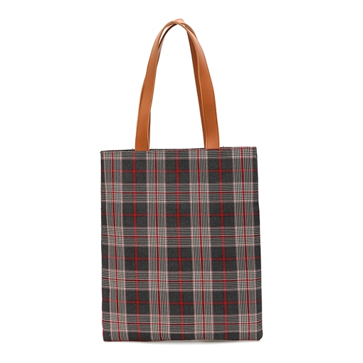 Concise Plaid Canvas Shoulder Bag