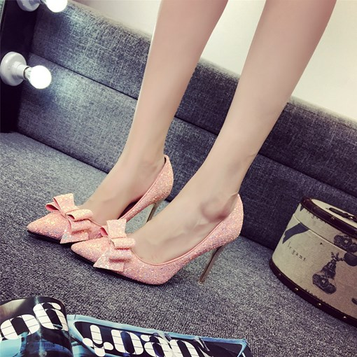 Pointed Toe Sequin Bow Sweet Prom Dress Shoes for Women