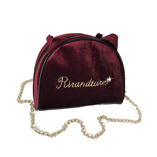 Velour Letter Pattern Velour Chain Cross Body Bag