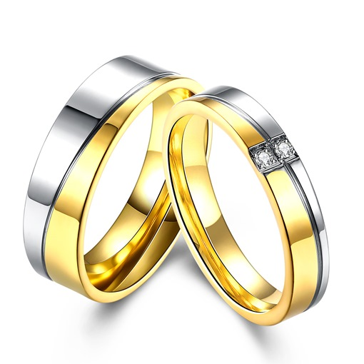 Diamante Gold Silver Plated Lovers Ring