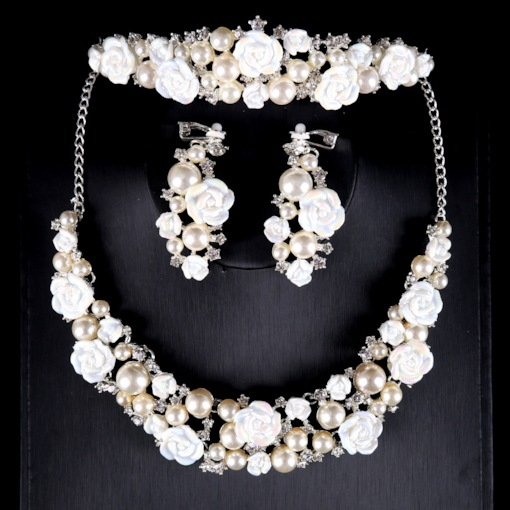 Imitation Pearl Flower Jewelry Sets