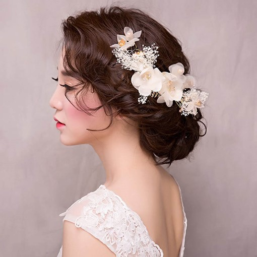 Cloth Flower Rhinestone Bride Hair Accessories