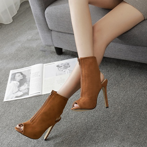 Peep Toe Suede Frond Zipper High Heel Boots