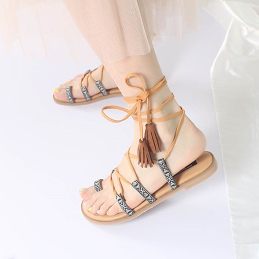Toe Ring Strappy Block Heel Summer Gladiator Sandals
