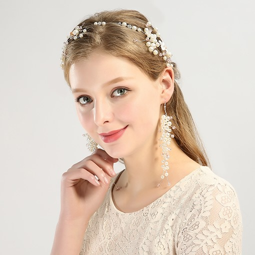 Alloy Imitation Pearl Hair Band Earring Hair Accessories