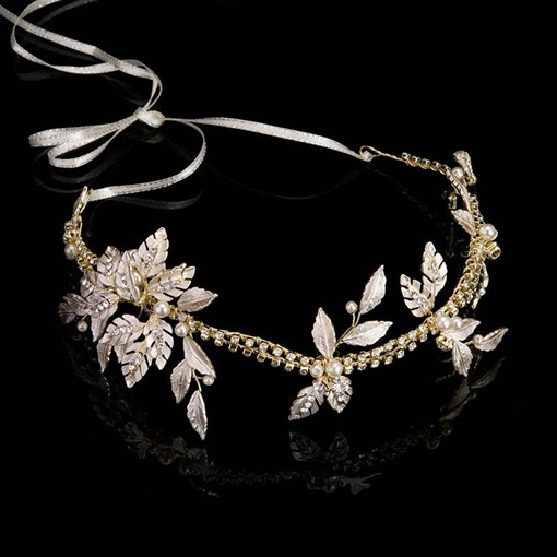 Diamante Leaf Imitation Pearl Hair Accessories
