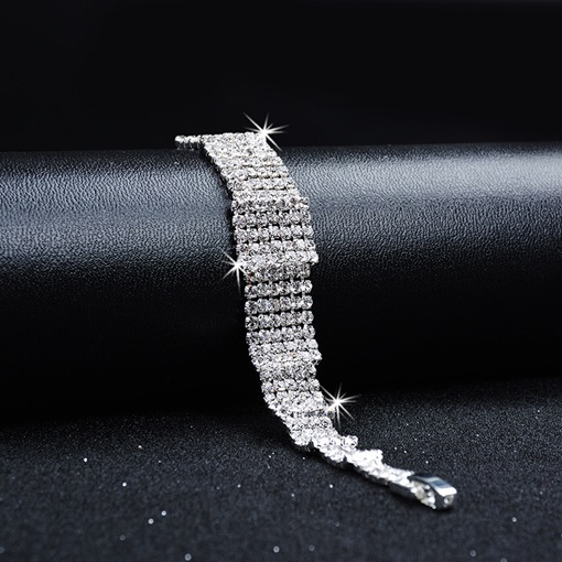 Luxurious Full Drill Silver Plated Bracelet
