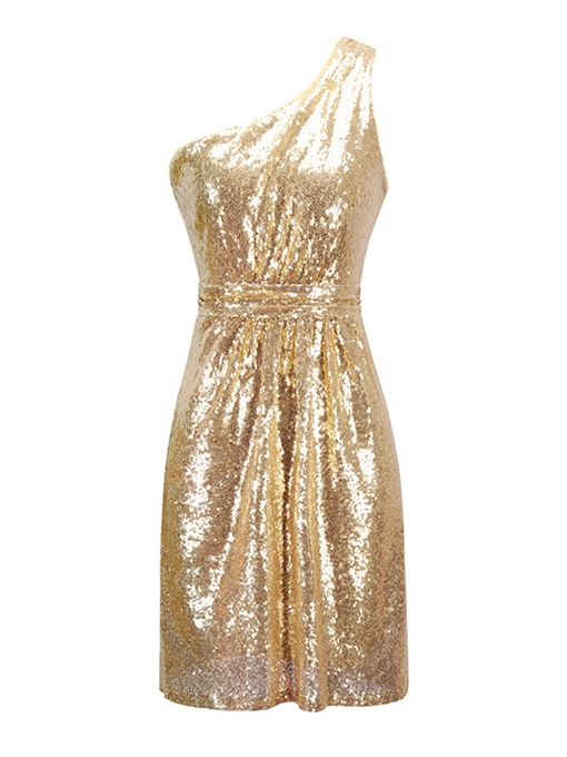 Golden One Shoulder Sequins Women's Party Dress
