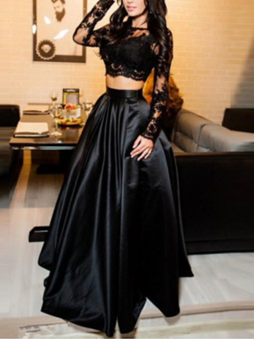 Appliques Long Sleeves Two Pieces Prom Dress 2019