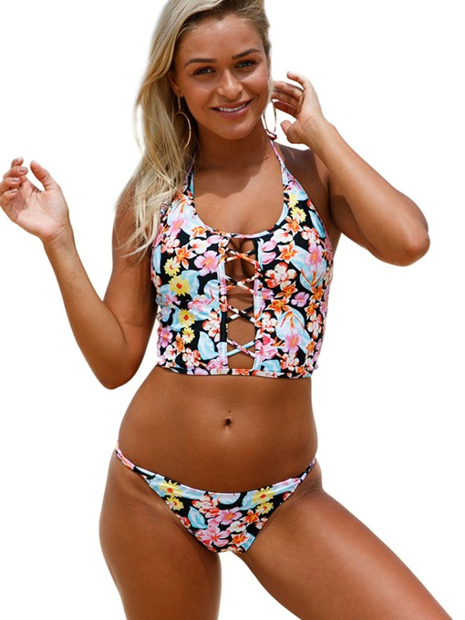 Floral Lace-Up Halter Women's Tankini Set