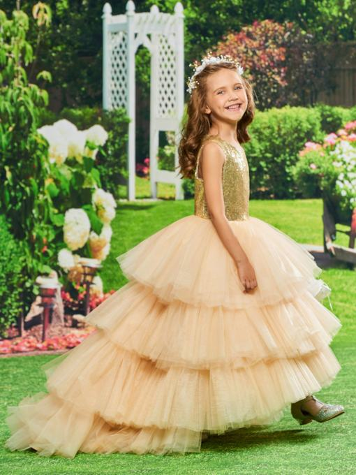 Sequined Tiered Tulle Girl Party Dress