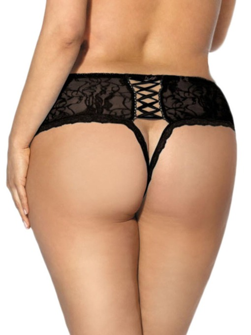 Crotchless Lace Sexy Plus Size Brief