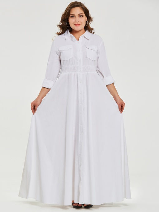 Plus Size Single-Breasted White Women's Maxi Dress