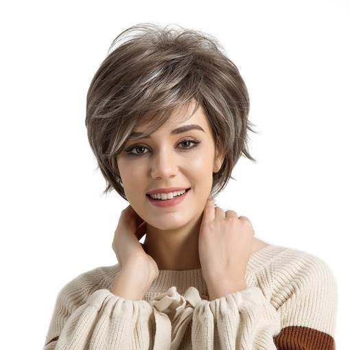 Fresh And Creative Oblique Fringe Short Hair Synthetic Wigs For Women 10 inches