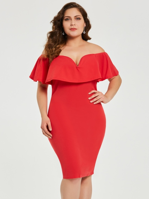 plus size off schulter rot frauen bodycon kleid