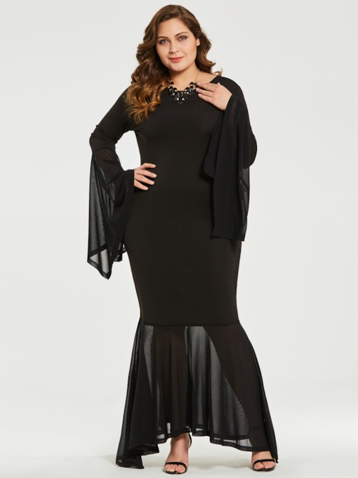 plus size fishtail bodycon Damen Maxikleid