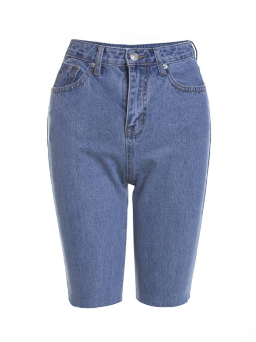 Knee Length Straight Denim Women's Jeans