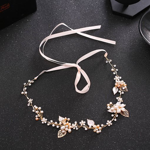 Synthetic Pearl Leaf Rhinestone Hair Accessories