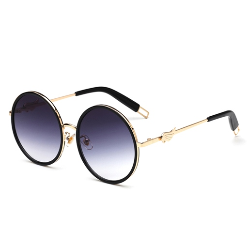 Wing Design Round Metal Sunglasses