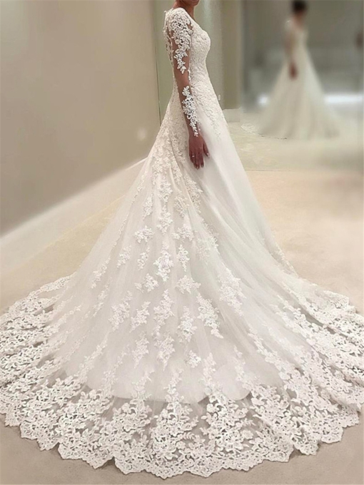 Appliques Sequins Long Sleeve Wedding Dress