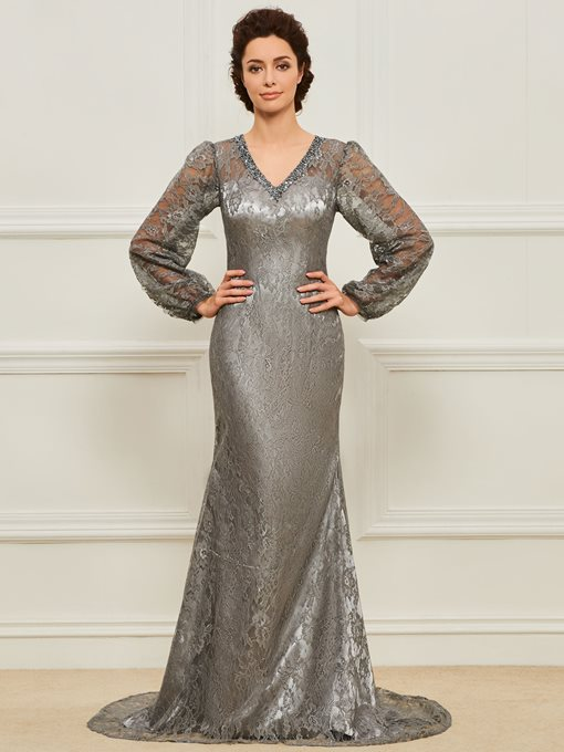 Sequined V-Neck Long Sleeves Lace Mother of the Bride Dress