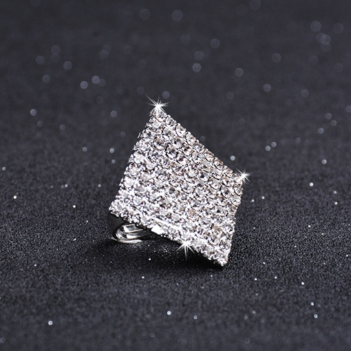 Rhombus Silver Plated Full Drill Ring