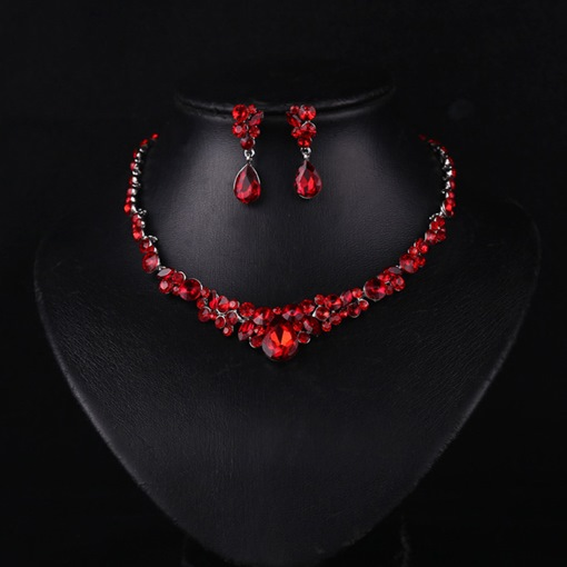Red Rhinestone Water Drop Jewelry Sets