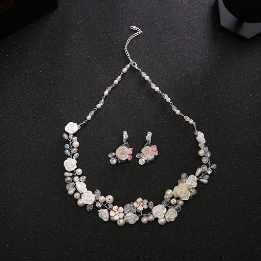 Glass Beads Alloy Wedding Jewelry Sets