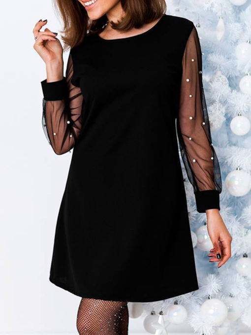 Long Sleeve Mesh Round Neck Straight Women's Day Dress