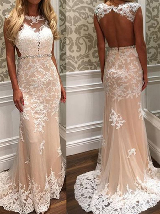 Beaded Belt Appliques Backless Wedding Dress