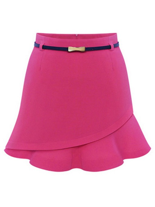 Plain Falbala Slim Fit Bodycon Women's Mini Skirt