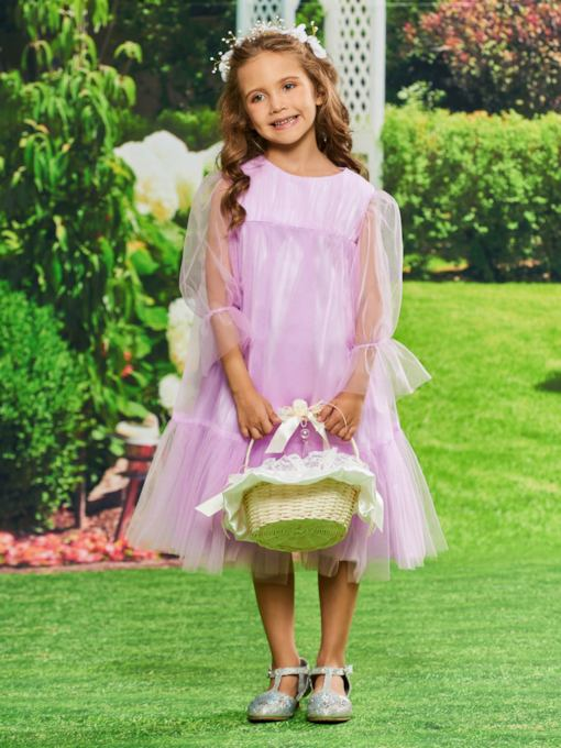 Long Sleeves Tea-Length Girls Party Dress